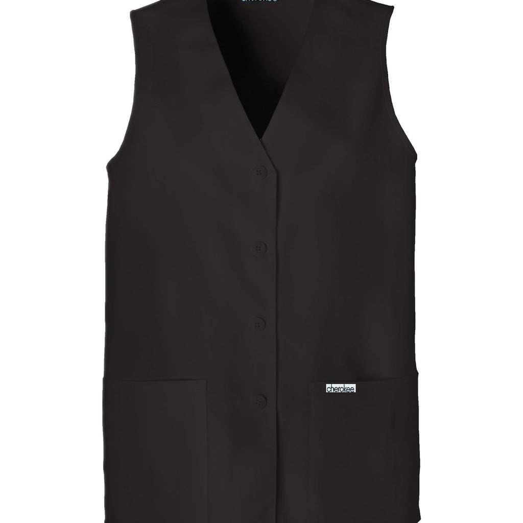 Cherokee Vest Fashion Solids Button Front Vest Black Vest