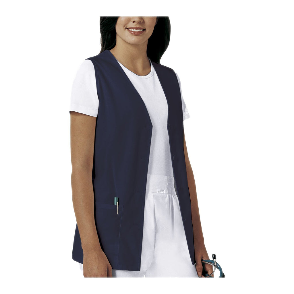 Cherokee Vest Fashion Solids Button Front Vest Navy Vest