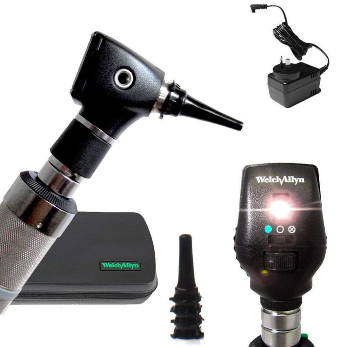 Welch Allyn Diagnostic Sets Standard 20000 Otoscope / Coaxial 11720 / Rechargeable Handle Ni-Cad Convertible to C-Cell Welch Allyn 3.5V Otoscope and Ophthalmoscope Diagnostic Sets