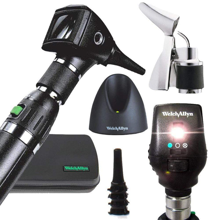 Welch Allyn Diagnostic Sets Standard 20000 With 26035 Bi Valve Nasal Spec / Coaxial 11720 / Lithium-Ion Handle Welch Allyn 3.5V Otoscope and Ophthalmoscope Diagnostic Sets
