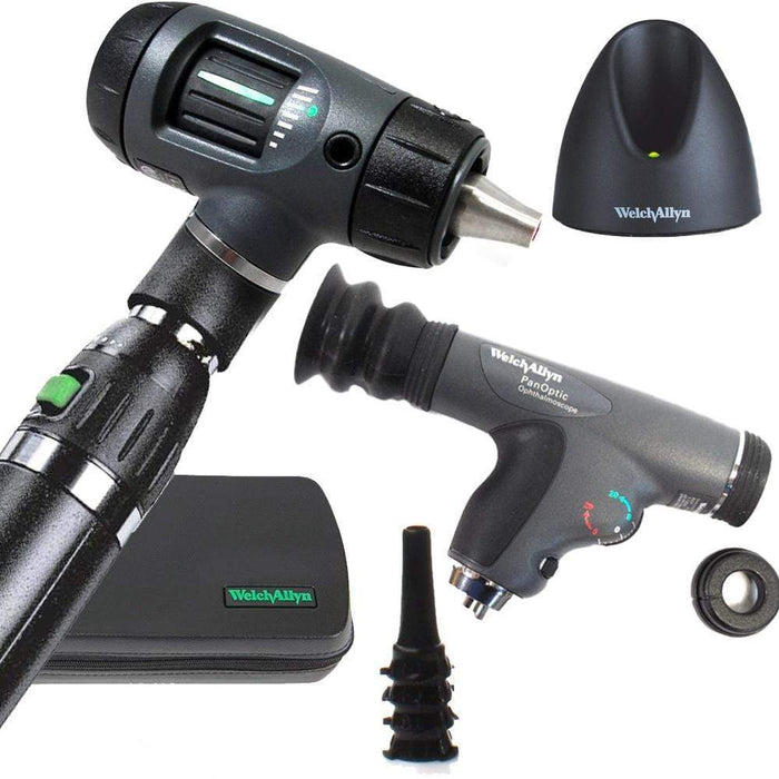 Welch Allyn Diagnostic Sets Macroview 23820 Otoscope / Panoptic 11820 / Lithium-Ion Handle Welch Allyn 3.5V Otoscope and Ophthalmoscope Diagnostic Sets