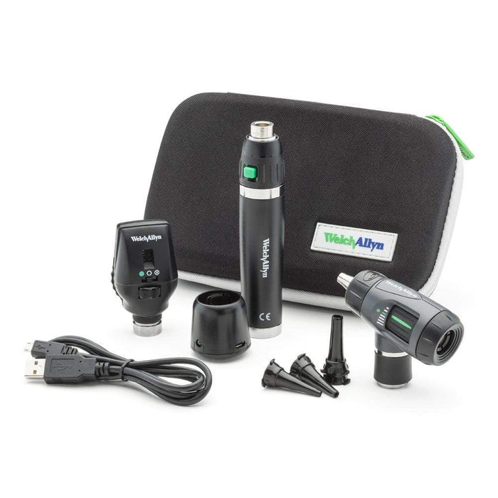 Welch Allyn Diagnostic Sets Macroview 23820 Otoscope / Coaxial 11720 / Lithium-Ion Handle with USB Style Charger Welch Allyn 3.5V Otoscope and Ophthalmoscope Diagnostic Sets