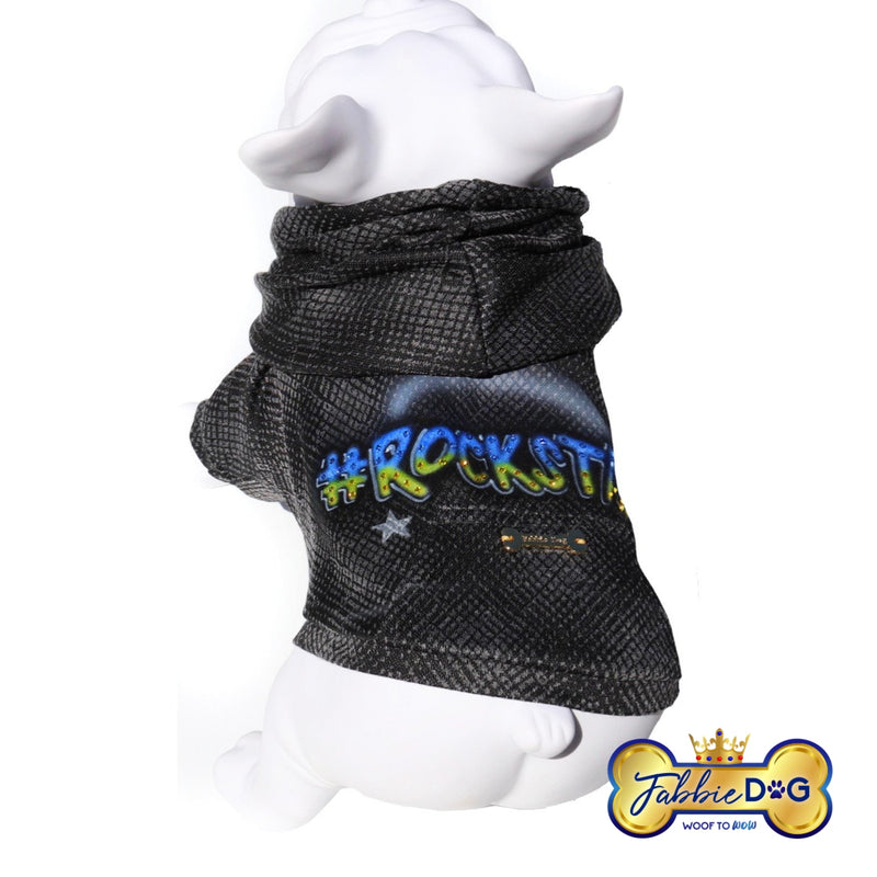 ROCKSTAR Black and Grey Dog Hoodie with Swarovski Crystals - Fabbie Dog