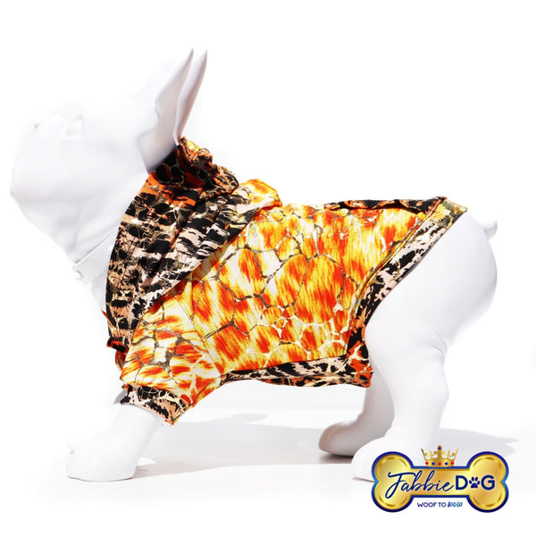 FALL FAB Orange and Gold Metallic Dog Hoodie - Fabbie Dog