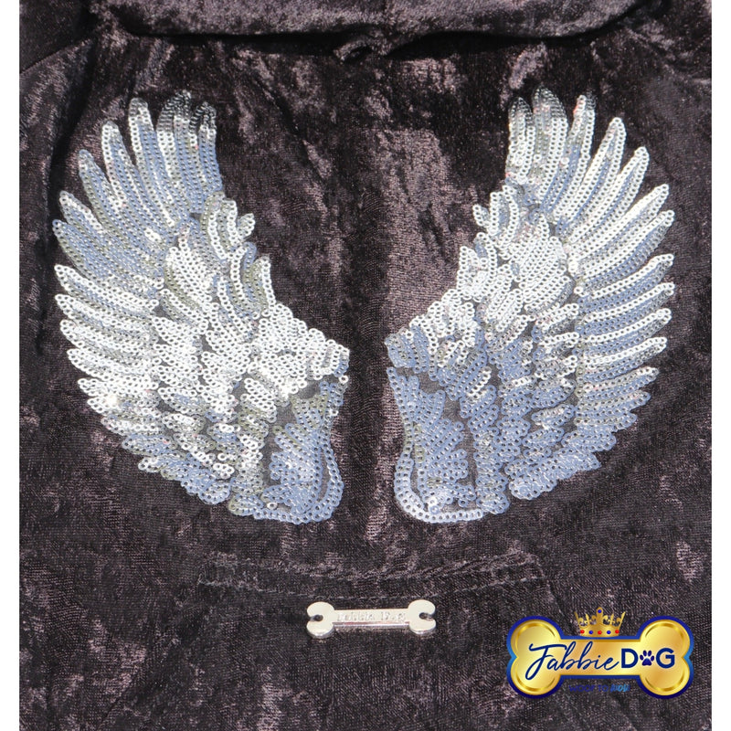 ANGEL WINGS Black Velour Angel Wing Dog Hoodie - Fabbie Dog