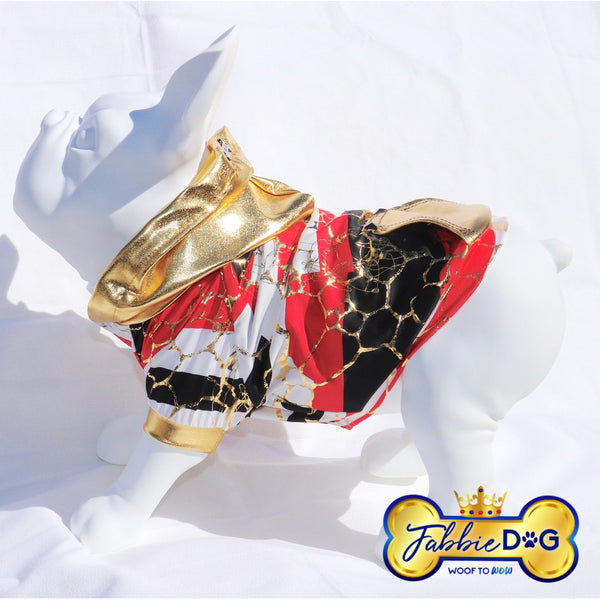 GLITZY Metallic Red and Gold Dog Hoodie - Fabbie Dog
