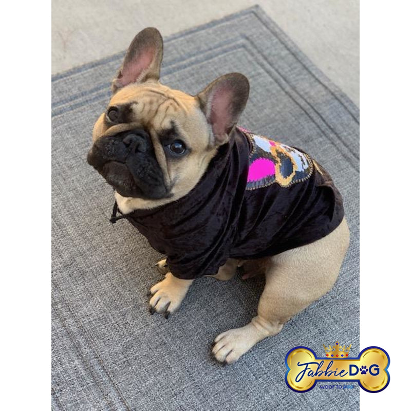 GLAM FRENCHIE Black Velour Dog Hoodie - Fabbie Dog