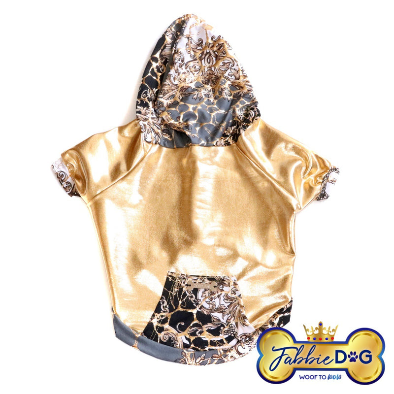 REVERSE DAZZLE Metallic Gold Dog Hoodie - Fabbie Dog