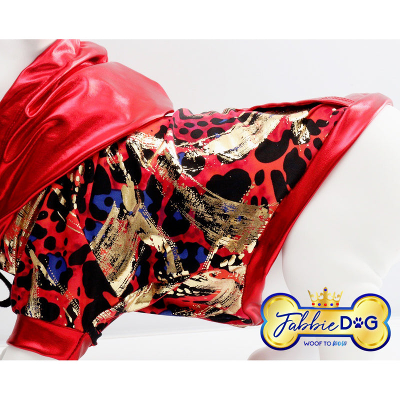 RED LOVE Metallic Red Dog Hoodie - Fabbie Dog