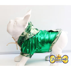 MO MONEY Green Metallic Dog Hoodie - Fabbie Dog