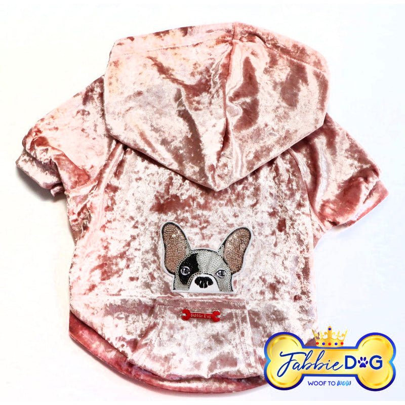 FRENCHIE FIASCO Velour Dog Hoodie in Soft Pink - Fabbie Dog