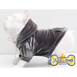 FRENCHIE FIASCO Velour Dog Hoodie in Grey - Fabbie Dog