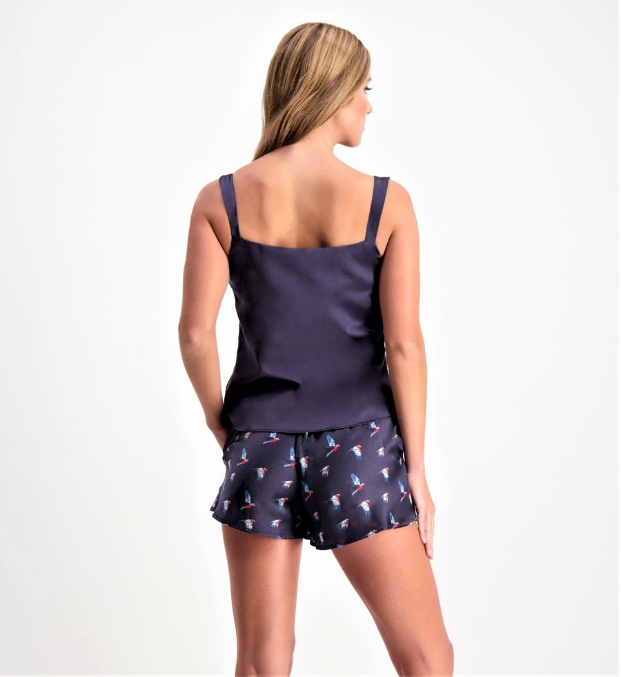Embrace - Luxury Silk Camisole with shelf bra - Midnight Blue