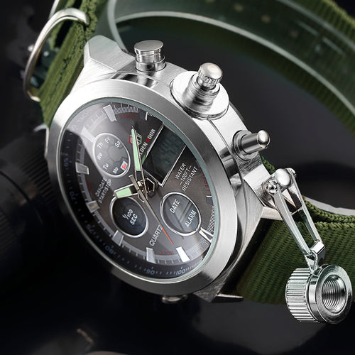 Men's Sport Watches with Nylon Strap LED Digital Analog Watch Army Military Style Waterproof