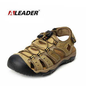 ALEADER Mens Leather Outdoor Sandals New Summer 2018