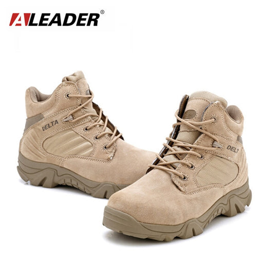 ALEADER Waterproof Men's Suede Combat Boots
