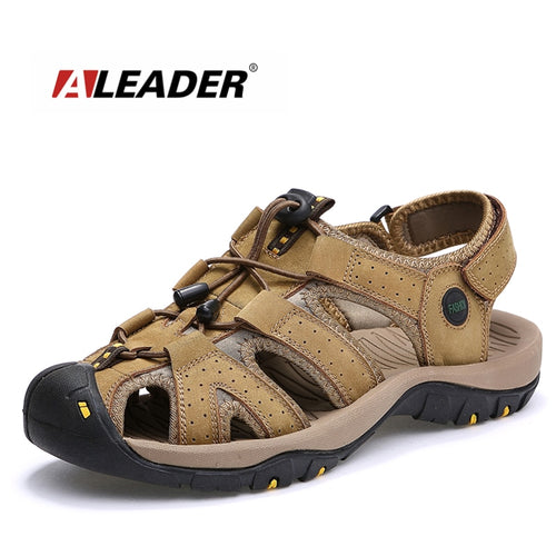 ALEADER 2018 Casual Beach Leather Sandals for Men