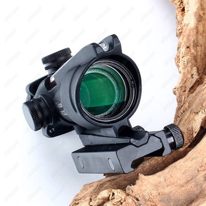 OhHunt ACOG 4X32 Real Fiber Optics Red Green Illuminated Chevron Glass Etched Reticle Tactical Optical Sight