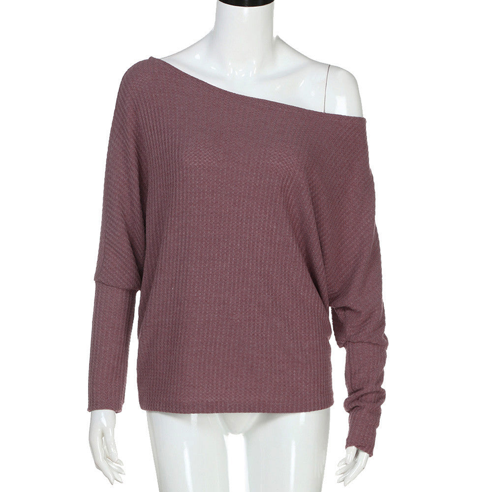 Women's Loose Casual off Shoulder Long Sleeve Knit Sweater