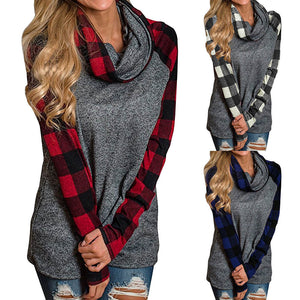 Women's Plaid Turtleneck Pullover Sweatshirt