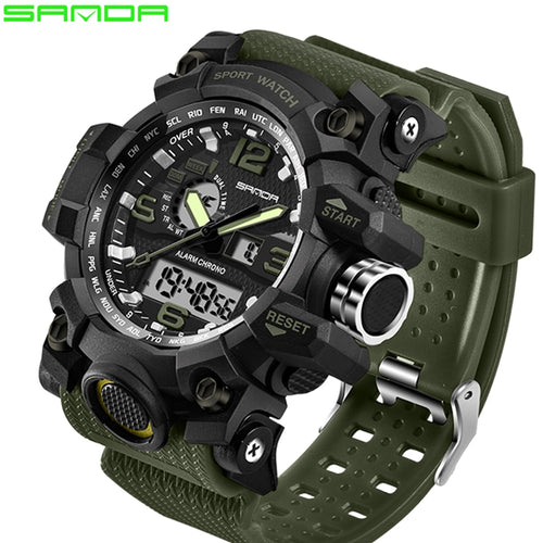 SANDA Men's Military Style LED Waterproof Watch