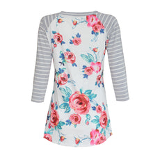 Load image into Gallery viewer, Women Floral Splice Stripe Round Neck Blouse T Shirt