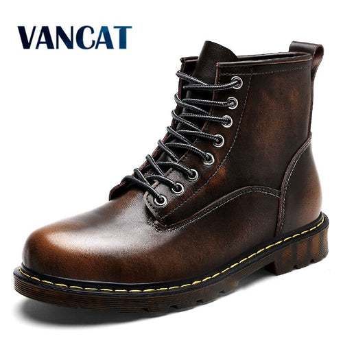 Vancat High Quality Genuine Leather Waterproof Men's Boots