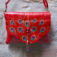 Load image into Gallery viewer, Medium size red leather bag with peacock feather design