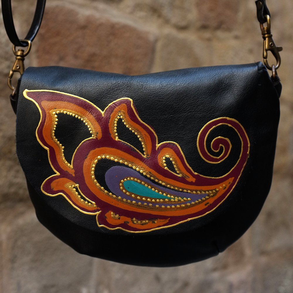 Small black leather bag with paisley design