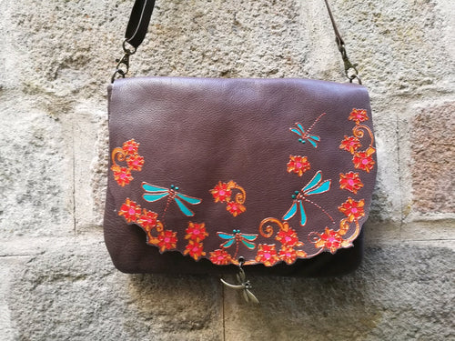 Brown leather bag with dragonfly design
