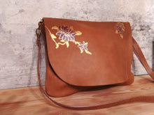 Load image into Gallery viewer, Toasted Almond leather bag with Floral design