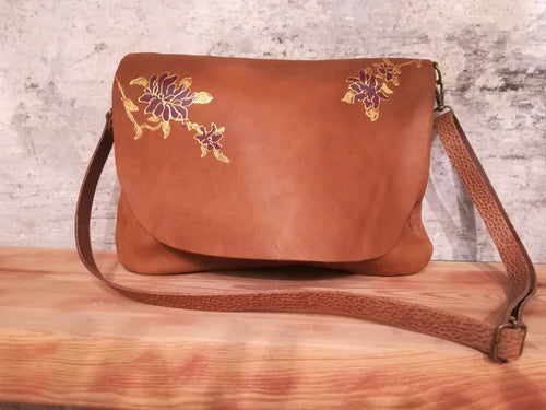 Toasted Almond leather bag with Floral design