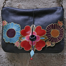 Load image into Gallery viewer, Large black leather bag with mexican flowers design