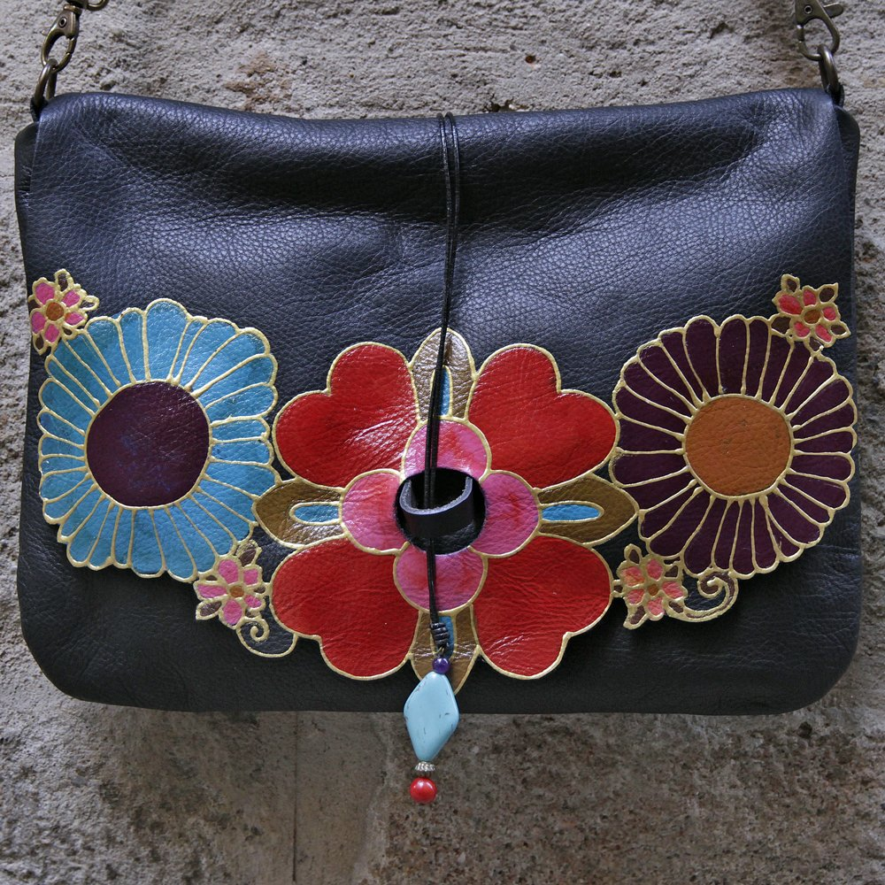 Large black leather bag with mexican flowers design