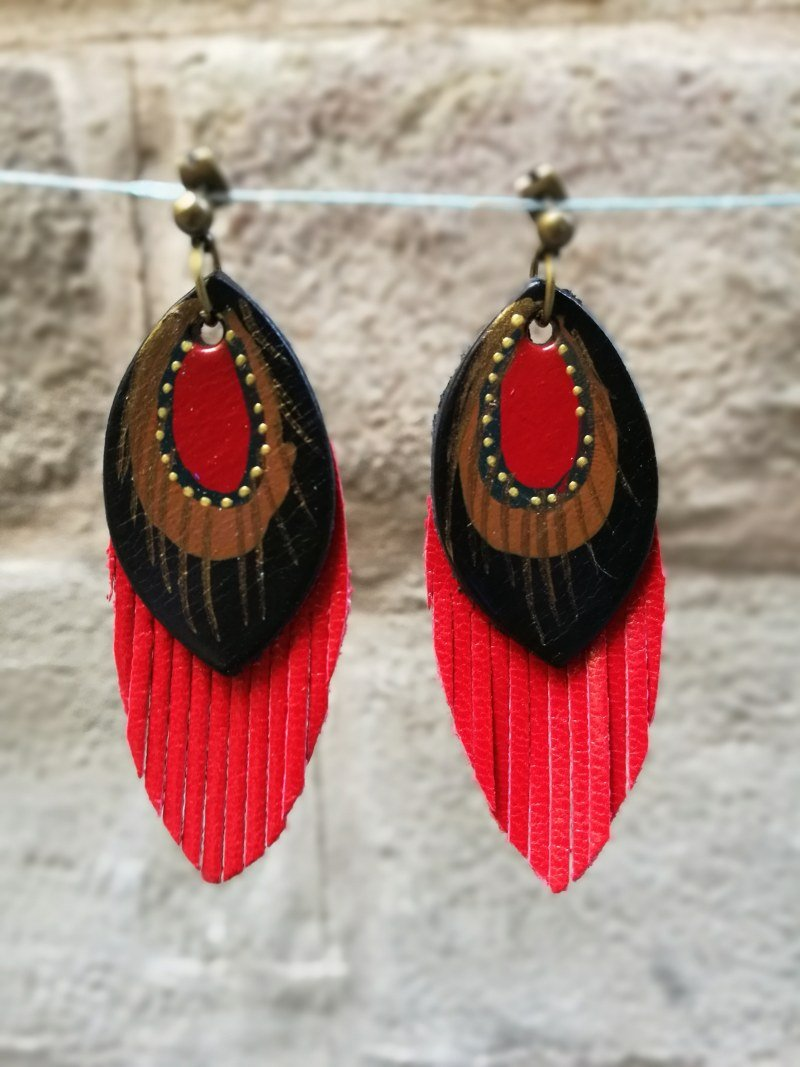 small fringe leather earrings pendientes  fleco s