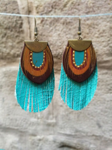 Fringe turquoise leather earrings pendientes fleco