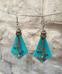 pendiente rombo earrings with chain