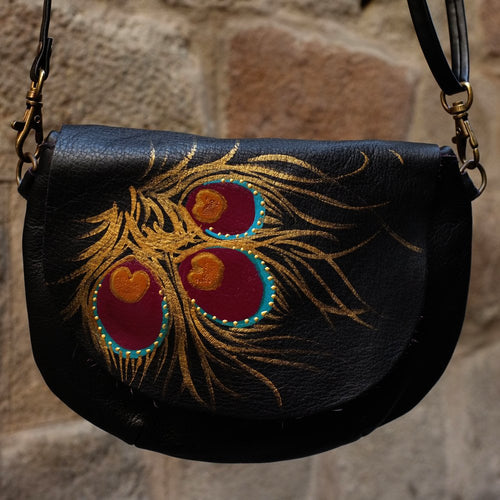 Small black leather bag with peacock feather design