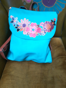 Turquoise leather backpack