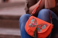Load image into Gallery viewer, round leather bag with butterfly design