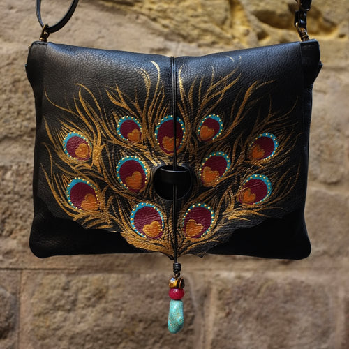 Medium size Black leather bag with peacock feather