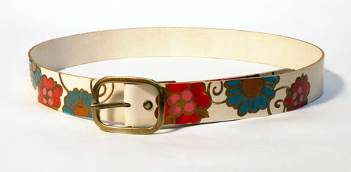 White leather belt with mexico flowers design