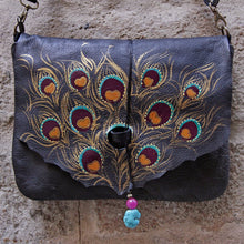 Load image into Gallery viewer, Large black leather bag with peacock feather design