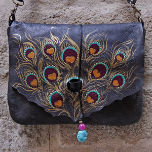 Large black leather bag with peacock feather design