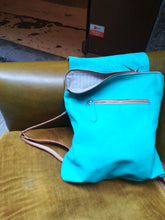 Load image into Gallery viewer, Turquoise leather backpack