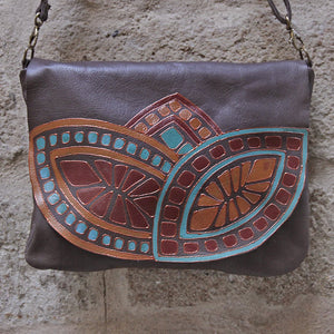 "Large brown leather bag ""melon"""