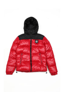 'SHIELD' LOGO PUFFER JACKET (RED)