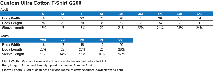 G200 GILDAN ULTRA COTTON T-SHIRT Size Chart