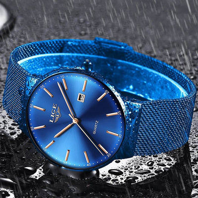BigProStore Fashion Men Watch Waterproof Ultra Thin Blue Police Wristwatch Gift Blue Wristwatch