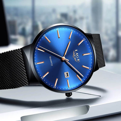 BigProStore Police Watches Men Blue Fashion Ultra Thin Classic Wristwatch Gift Idea Black and Blue Wristwatch